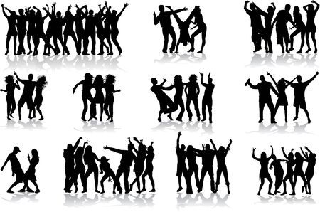 teenagers group: Dancing silhouettes - large collection