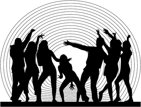 dancing people silhouettes Stock Vector - 9718420