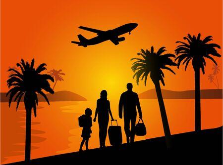 Familievakantie onder palmbomen Stock Illustratie