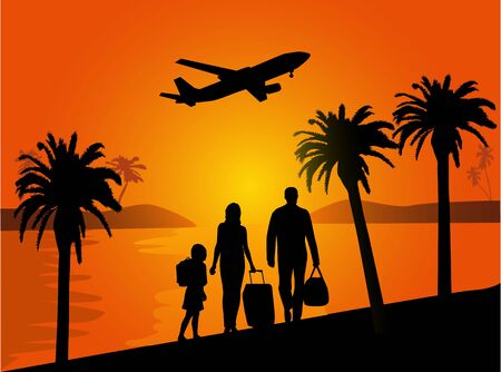 Family holidays under palm trees Vector