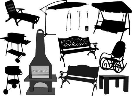 garden and terrace - furniture, grills 일러스트