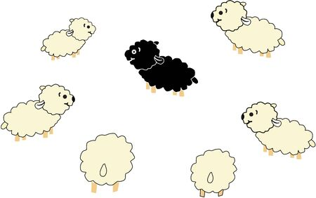 Black and white sheep. Stock Vector - 9718299