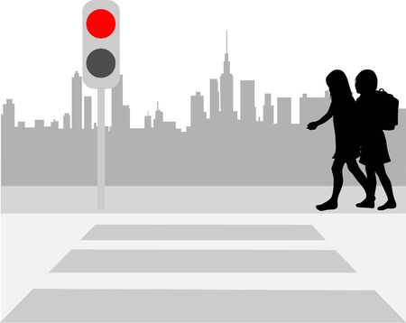school aged: Pedestrian crossing  Illustration