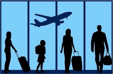gente aeropuerto: La familia en el aeropuerto de una ilustraci�n  Vectores