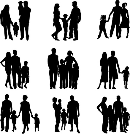Silhouette of parents and children  Stock Illustratie