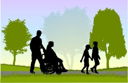 ni�o discapacitado: Familia en un paseo Vectores