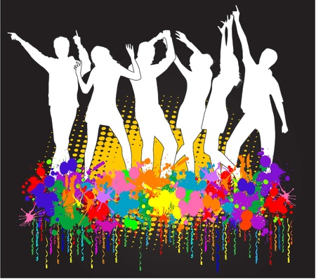 Party peopel,  grunge background