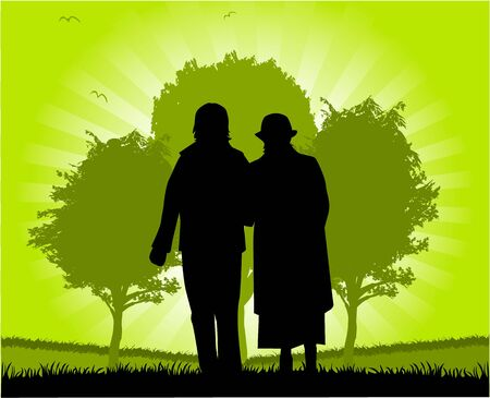 Seniors Walk Stock Vector - 9718646