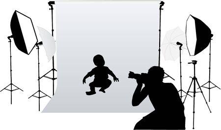 小さな子供の写真を撮る  イラスト・ベクター素材