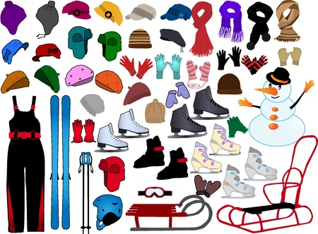 snow sled: Winter Accessories Illustration