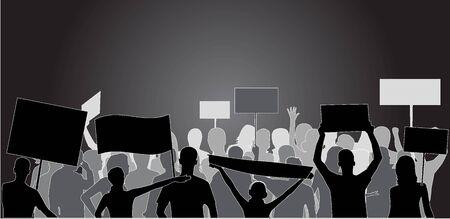 derechos humanos: Silueta de demostraci�n personas - negro