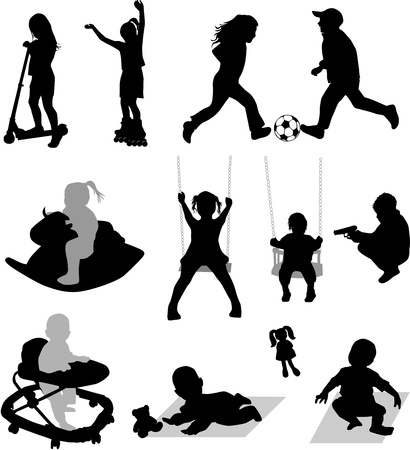 silhouettes of children at play Stock Vector - 9718390