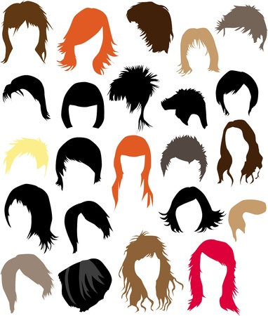 Hair - dress  (women and man), vector work  Vector