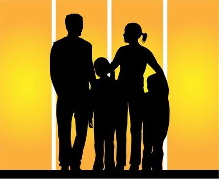 Familie Silhouetten Standard-Bild - 9718306