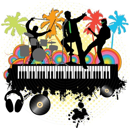 Concert under the palm-grunge background Stock Vector - 9718695