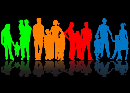 Family - colorful silhouettes