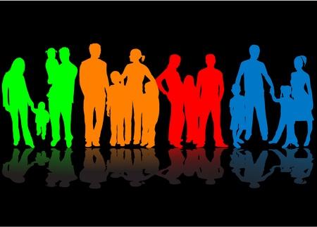Familie - kleurrijke silhouetten