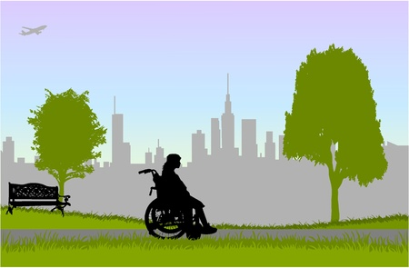 Femme en fauteuil roulant - marcher dans le parc. Vecteurs