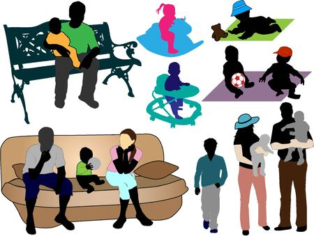 Family -  collection of colorful silhouettes Vector
