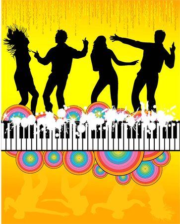 silhouette of dancing people Vector