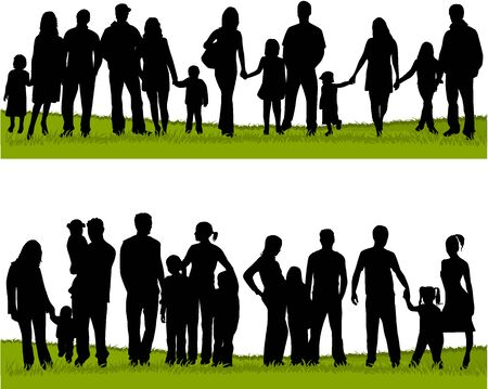 collection of family silhouettes Illustration