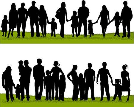 verzameling van de familie silhouetten Stock Illustratie