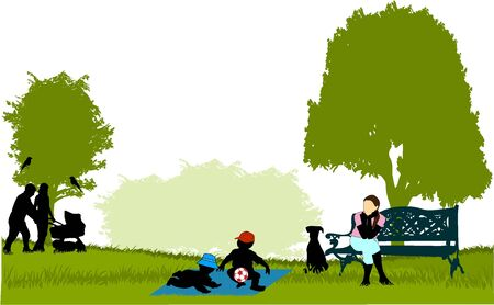 children silhouettes: Relaxing in the park Illustration