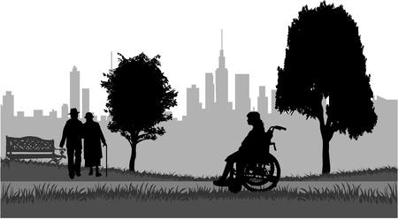 pensioen: Senioren op een wandeling in het park Stock Illustratie