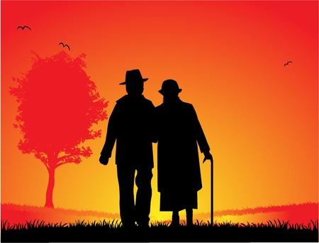 古い結婚されていたカップル - 公園で散歩