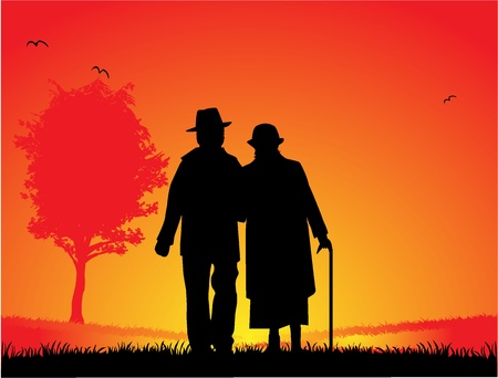 couples outdoors: Older married couple - a walk in the park