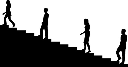shadow silhouette: Climbing stairs Illustration