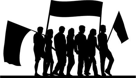 Demonstration People - black silhouette  Illustration
