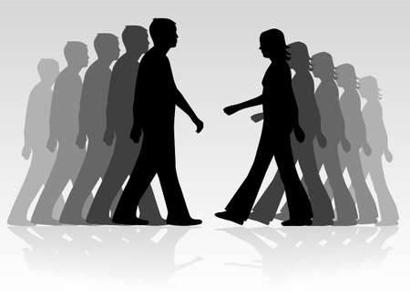 Silhouette of people, vectors work Illustration
