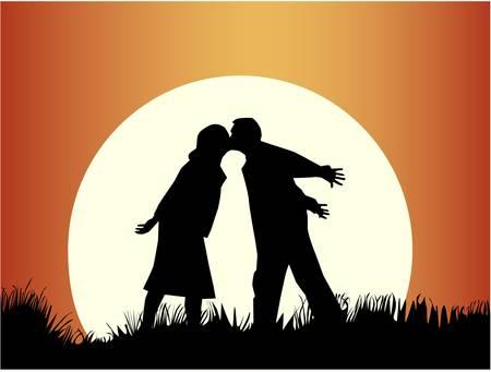 Romantic kiss  Vector