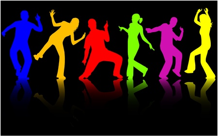 silhouettes: Dancing people silhouettes - color Illustration