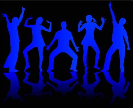 Dancing people silhouettes-blue, vector work Illustration