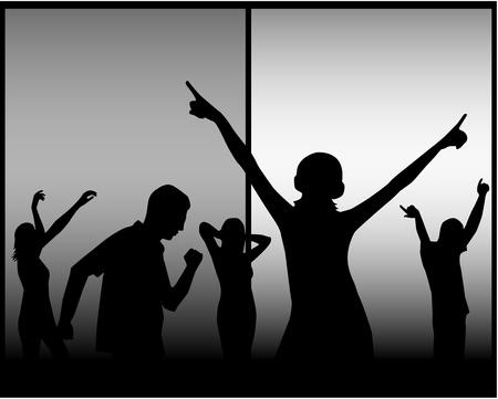Baile de siluetas de personas Foto de archivo - 9830430