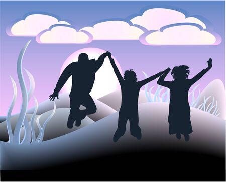 trio: Jumping People - Illustration - Vectors