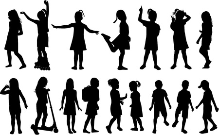 Childrens Silhouettes Vector