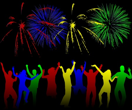 fan dance: Show of firework , vectors work