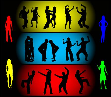 Dancing silhouettes - large collection Illustration