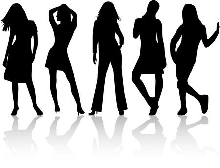 Mode Women, vectoren te werken Stock Illustratie