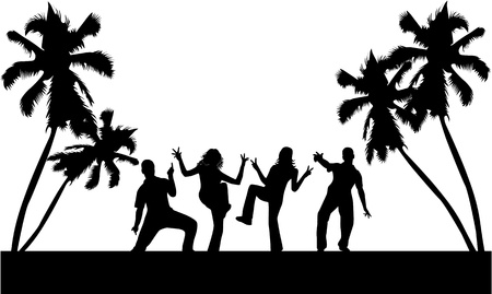 male palm: Dance on beach , vectors work