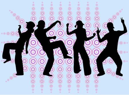 sexy woman disco: Dancing people silhouettes -background