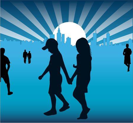 copule: Walk of people in city  Illustration