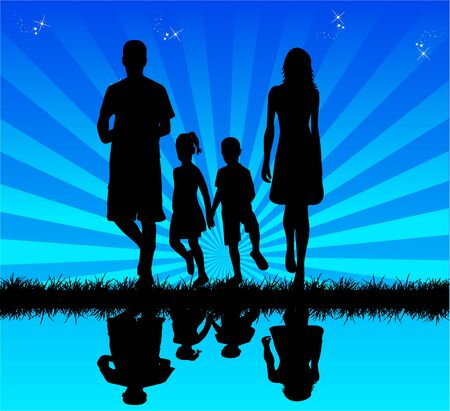 Family in water - reflection