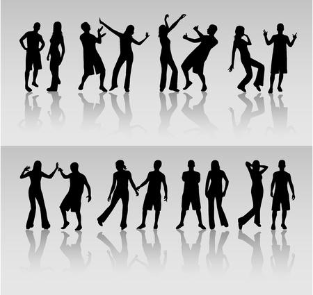 male hair model: dancing people silhouette