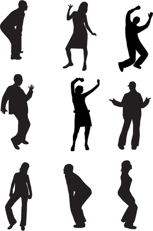 dance shadow: dancing people silhouette