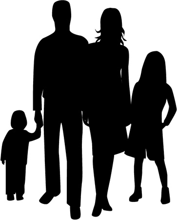 happy family outdoor: Family silhouette