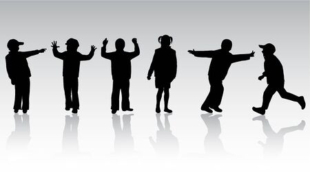 Children Silhouettes Stock Vector - 10423336